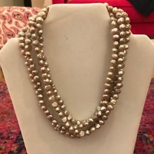 2 Light Gray Freshwater Cultured Pearl Necklaces